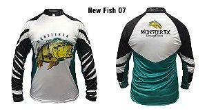 Camiseta De Pesca Monster 3x  tucunaré New Fish 07 Com Proteção Solar Uv