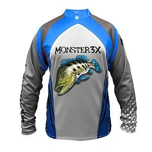 Camiseta De Pesca Monster 3x Tucunare Azul New Fish 03 Com Proteção Solar Uv