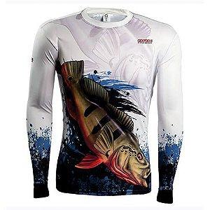 Camiseta BRK Fishing Combat Fish Tucunare Açu 2.0 fpu 50+ Tamanho XG