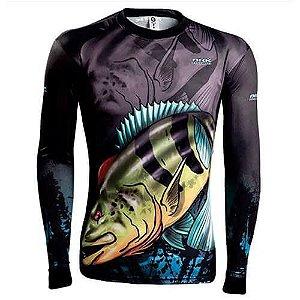 Camisa de Pesca Brk Combat Fish Tucunare Azul 1.0 fpu 50+ Tam GG
