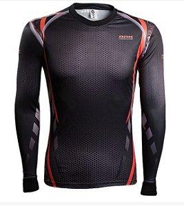 Camisa de Pesca Brk Combat Fish Camo Orange fpu 50+ TAM G