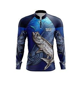 Camiseta De Pesca Proteção Solar 50+ Uv Mar Negro - Tarpon