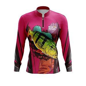 Camiseta De Pesca Mar Negro Feminina Tucuna Rosa
