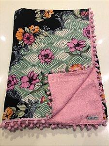 Canga Toalha - Dupla face - Floral com preto e rosa