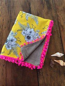 Canga Toalha - Dupla face - Floral amarelo