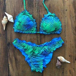 Biquíni Empina Bumbum - Dupla Face - Palmeira Azul