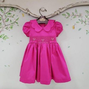 Vestido Bordado Infantil Gola Matame Pink