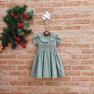 Vestido Bordado Bebê Encanto Poá Verde