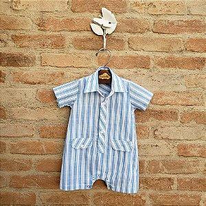 Macacão Babyboy Azul Listrado