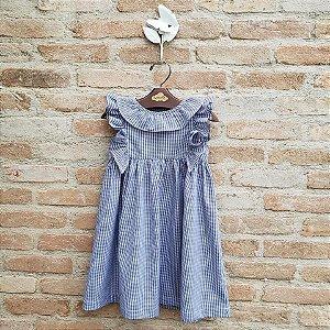 Vestido Infantil Frésia Xadrez Azul