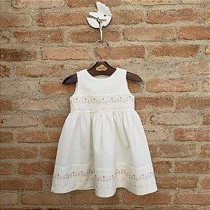 Vestido Bebê Caroline Floral Off White