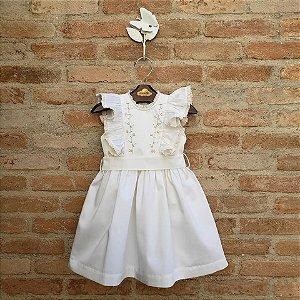 Vestido Bebê Gérbera 400 fios egipicio Off White