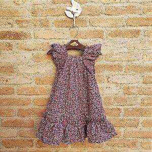 Vestido Infantil Bolonha Floral Azul Marinho