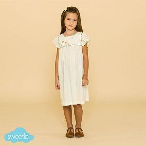 Vestido Bebê e Infantil Roma Linho Off White