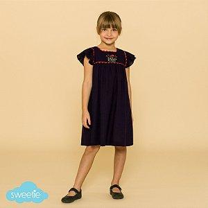 Vestido Bebê e Infantil Roma Linho Azul Marinho