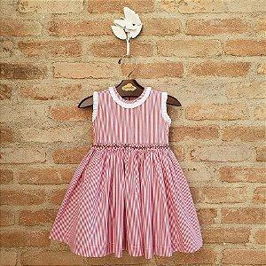 Vestido Bordado Bebê Lucca Listrado Vermelho