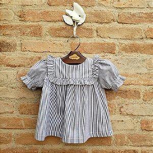 Blusa Bebê Listrada Azul Marinho