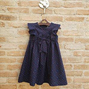 Vestido Infantil Peônia Folinhas Azul Marinho