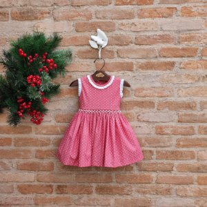 Vestido Bordado Bebê Lucca Valentino Vermelho