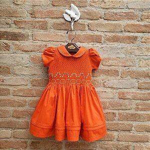 Vestido Bordado Infantil Nice Laranja