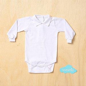 Body Bebê Branco Gola Flick Branca