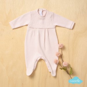 Macacão Sweetie Maternidade Friso Rosa Bebê