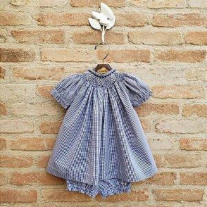 Conjunto Batinha Bordado Bebê Cravo Vichy Azul