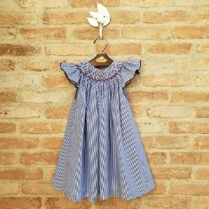 Vestido Bata Bordado Infantil Picueta Listrado Azul