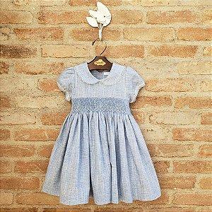 Vestido Bordado Infantil Hortensia Azul