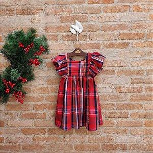 Vestido Infantil Violeta Xadrez Vermelho