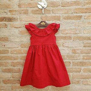 Vestido Infantil Manguinha Babado Vermelho