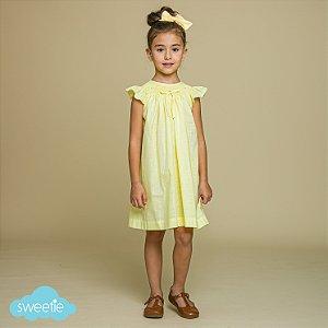 Vestido Bata Anne Bordado Viscolinho Amarelo