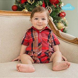 Macacão Babyboy Xadrez Vermelho