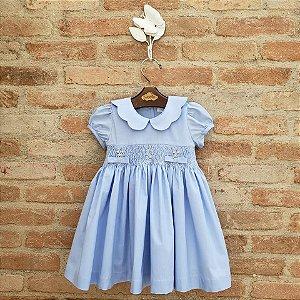 Vestido Bordado Gola Matame Azul
