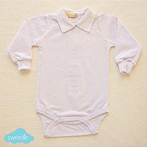 Body Branco Gola Flick Azul Bebê