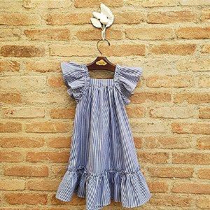 Vestido Bolonha Listrado Azul