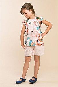 Conjunto bata e shorts linho floral Rosa
