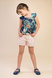 Cojunto bata e shorts linho Floral Azul