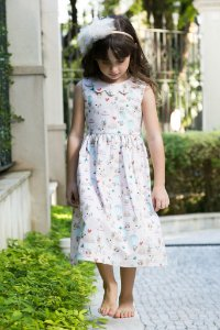 Vestido Gola Nuvem Baloes Infantil