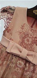 Vestido Renda Rosa antigo