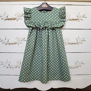 Vestido Infantil Bolas Verde Milão