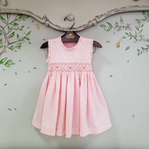 Vestido Bordado Bebê Pipoca Rosa