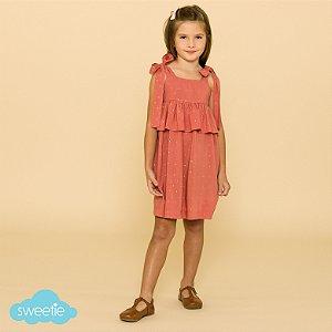 Vestido Infantil Brilho Goiaba