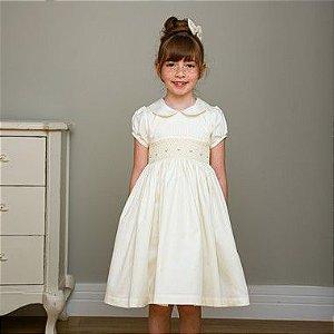 Vestido Bordado Infantil Algodão 400 Fios Off White