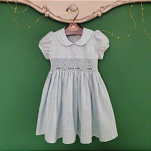 Vestido bordado infantil linho azul bebê