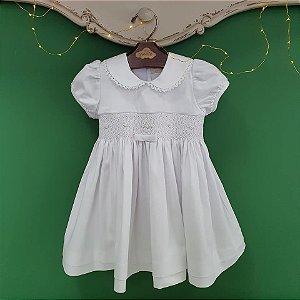 Vestido bordado infantil branco chanel