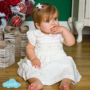 Vestido Bordado bebê e infantil brilho branco