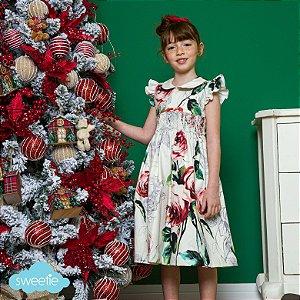 Vestido bordado infantil Luxury estampa floral