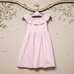 Vestido Bebê e Infantil Babado Rosa BB