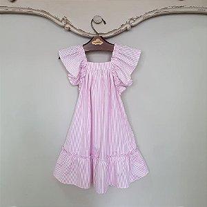 Vestido Bebê Bolonha Listras Rosa